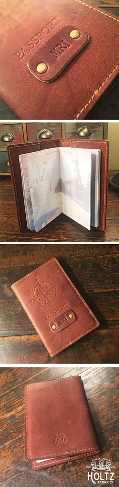 The handmade Expedition Personalized Leather Passport Cover Holder made right here in our shop with the finest of Full Grain American leathers. We hand pick our leather hides from a local tannery ~ for a rustic look and feel. This is a gift that will be used and loved for a lifetime! Perfect for the jet-setter in your life…