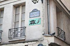 jumbo space invader. neighborhood of st. germain, paris.