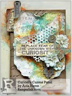 Curiosity Canvas Panel by Aida Haron | www.rangerink.com using Tim Holtz, Ranger, Idea-ology, Sizzix and Stamper's Anonymous products; Apr 2015