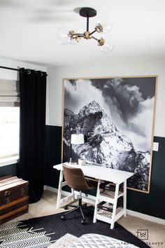 Love the mountains? Check out this black and white skiing bedroom decor, perfect for a boys room or cabin decor! Bedroom Reading Nooks, Modern Hanging Lights, Wood Slat Wall, Vintage Pillows, Master Bedroom Design, Beautiful Space, Wall Colors, Girl Room, Diy Home Decor