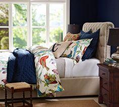 Fauna Duvet Cover & Sham looks like a florida guest room..love the dark blue walls too!