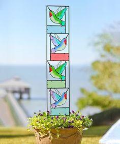 Illuminate your landscape in sun-splashed color with this painted glass garden pane. Hummingbird Painting, Glass Garden, Arizona Tea, Drinking Tea, Hearth, Planters, Invitations, Landscape, Garden Decorations
