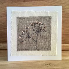Gifts for Cow Parsley Lovers: Handmade gifts featuring cow parsley flowers and seed heads. Embroidery Cards, Free Motion Embroidery, Embroidery Stitches, Hand Embroidery, Freehand Machine Embroidery, Free Machine Embroidery, Hand Made Greeting Cards, Greeting Cards Handmade, Fabric Cards