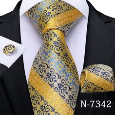 Tie And Cufflink Set, Gold Fashion, Mens Fashion, Mens Wedding Ties, Yellow Ties, Silk Material, Tie Set, Silk Ties, Black Stripes
