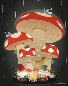 "Cute gnomes and mushrooms ""Rainy Night"" by canadian kawaii artist Rosey Cheekes #gnomo #amanita - Carefully selected by @Gorgonia www.gorgonia.it"