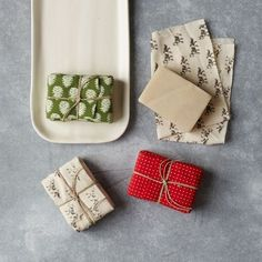 Fabric wrapped soap. A lovely little host/ess gift.