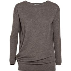 Vince Asymmetric cashmere sweater ($135) ❤ liked on Polyvore featuring tops, sweaters, shirts, long sleeves, blusas, brown sweater, brown long sleeve shirt, long sleeve sweater, pure cashmere sweaters and long-sleeve shirt