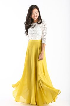 This maxi skirt is all you could have asked for and more! With flowy layers, a flattering silohuette and gorgeous yellow-chartreuse color, this skirt is bright essential for your wardrobe. Just take a
