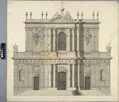 Kyrka, möjligen Église de la Merci i Paris. Huvudfasaden | Germain Boffrand