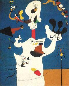 """""""A BATATA"""", JOAN MIRÓ """"A Batata"""" é uma de suas pinturas surrealistas mais famosas. Combinando formas distorcidas com um título aparentemente absurdo, a obra apresenta cores primárias, formas orgânicas e achatadas e a composição ao mesmo tempo primitiva e complexa que acabaram por se tornar sua marca registrada. Nessa obra o pintor uniu duas preocupações fundamentais do movimento surrealista, combinando técnicas automatistas com imagens pessoais e simbólicas provenientes de sonhos."""