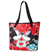 "Mickey Kisses Minnie Totebag- Tote bag features Mickey & Minnie smooching. Zip close. Polyester. Wipe clean. 15"" H x 11 1/2"" W x 3 1/2"" D; 10"" handle drop. Fully lined with zip pocket."