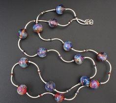 Artisan lampwork and silver necklace / 'Galaxy. Nebula' / Free shipping