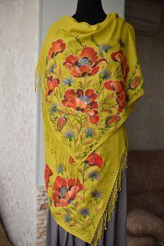 маки ручной росписью шарф, материал тонкий кашемир со льном, ручная роспись шарф, шаль цветы крупные, красивые большие шарф эксклюзивный