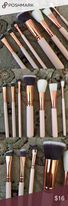 7 piece set of Roségold and Creme brushes Brand new set of 7 makeup brushes! Super soft synthetic brushes with Roségold ferrule and a creme colored wooden handle! The brushes have both duo toned bristles as well as white bristles so you know how much product you're picking up on your brush! Includes flat top, powder/blush, contour, eyebrow and blending brushes for eye shadows! Beautiful and cruelty free! Makeup Brushes & Tools