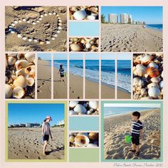 """Mosaic Moments featuring a Beach Day Scrapbook Layout - This post talks about adding """"Feeling"""" to your pages and also features a lovely and unique pattern. Beach Scrapbook Layouts, Papel Scrapbook, Vacation Scrapbook, Scrapbook Designs, Wedding Scrapbook, Scrapbook Sketches, Scrapbook Paper Crafts, Scrapbooking Layouts, Scrapbook Cards"""