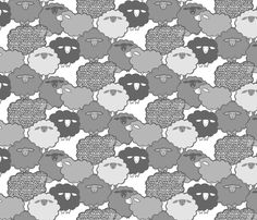 Sheep Shape (gray) 12in fabric by leanne on Spoonflower - custom fabric