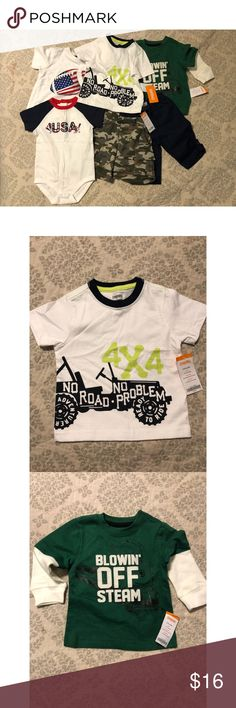 BRAND NEW WITH TAGS GYMBOREE LOT 6-12 Months Boy Brand new with tags Gymboree baby boy lot! Includes: *1 pair of 6-12 month blue pants with button sides!  *1  pair of 6-12 month camo shorts!  *1 patriotic 6-12 month onesie!  *1 6-12 month football t shirt! *1 6-12 month long sleeve train t shirt!   Great bundle for a baby boy!   All items have original tags ❤️ Gymboree Matching Sets