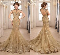 2015 Newest Sexy Mermaid Sheer High Neck Backless Capped Sleeve Sequins Lace Applique Beads Chapel Train Tulle Prom Evening Dresses, $131.96 | DHgate.com