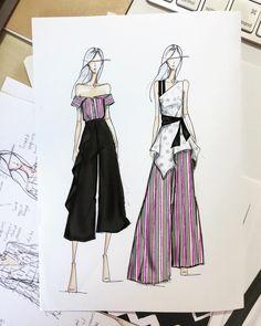 Fashion model illustration moda Ideas for 2019 Dress Design Sketches, Fashion Design Sketchbook, Fashion Design Drawings, Drawing Fashion, Drawing Sketches, Drawing Ideas, Fashion Design Portfolios, Croquis Drawing, Drawing Drawing