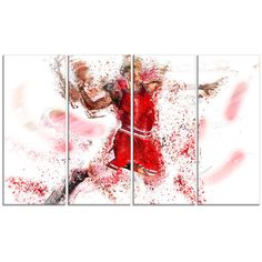 Found it at Wayfair - Basketball Slam Dunk 4 Piece Graphic Art on Wrapped Canvas Set