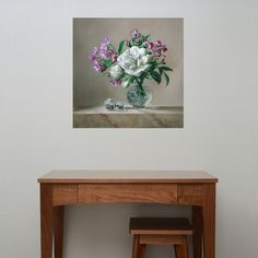 Floral Nature Painting Wall Decal - The Perfume Bottle by Pieter Wagemans