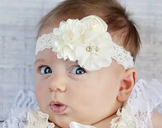 Ivory Chiffon Baby Headband Off White Baby by polkadotsboutique
