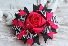 Zebra Hot Pink Fancy Rose Stacked boutique bow Easter