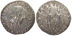 Indo Scythians. Azilises. AR tetradrachm. 57-35 BC. King on horseback, holding whip, monogram to the right/ Two Dioscuri standing facing. MIG 776, RS- 37.2T, vf, Rare, 9.50g