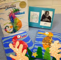 Grade: Art and Literacy The seahorse collages are based on the book Mister Seahorse by Eric Carle. First, we painted . Seahorse Crafts, Seahorse Art, Seahorses, First Grade Art, 2nd Grade Art, Second Grade, Kindergarten Art, Preschool Art, Animal Art Projects