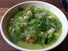 Pureed Green Garlic Soup w/Pickled Fennel, Fresh Herbs and Flowers at Aster in SF