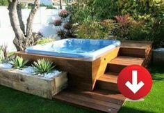 Hot Tub Gazebo, Hot Tub Backyard, Backyard Patio, Backyard Landscaping, Backyard Ideas, Wood Patio, Patio Decks, Diy Deck, Landscaping Ideas