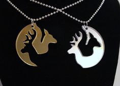 Romantic Browning inspired Buck Doe Deer Head hunting love Promise Necklace Pair His Hers set of 2 Gold /Silver mirror acrylic Free Decal on Etsy, $14.99