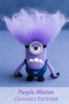 Oh my gosh - I love the hair on this purple minion! What a fun crochet pattern! #afflink #crochet #amigurumi