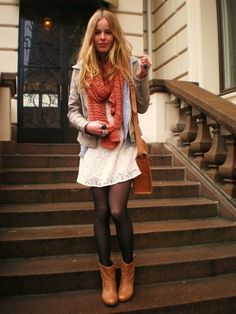 #mystyle #clothesiwant #sweaterscarf #blacktights #tanboots #whitedress #cutejacket