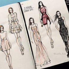 Fab sketches of J. Mendel by Carla Han on fashionary Fashion Illustration Sketches, Fashion Sketchbook, Fashion Design Sketches, Sketch Design, Fashion Painting, Fashion Art, Vestidos Fashion, Fashion Figures, Fashion Portfolio