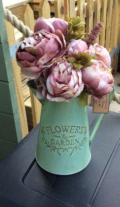Elegant and stylish hand painted zinc metal flower vase vintage style shabby chic rustic style by DottyCottage1 on Etsy