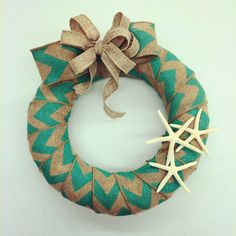 Ben Franklin Crafts Hawaii- beautiful wreath with Chevron Burlap ribbon and starfish
