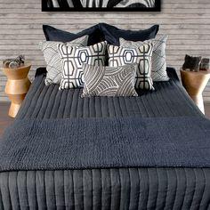 Boston Black & Beige linen #bedroom