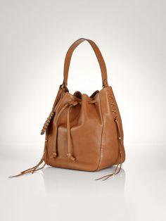 Laced Leather Drawstring Bag - Polo Ralph Lauren Hobos & Shoulder Bags - RalphLauren.com