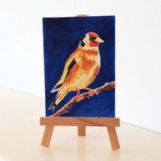 Bird Goldfinch Painting Miniature ACEO ORIGINAL £4.00