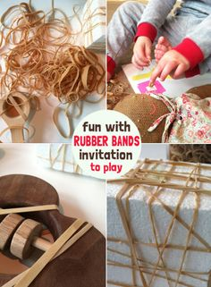 Rubber bands - Invitation to Play for Toddlers -- Nice open-ended material Toddler Classroom, Toddler Preschool, Toddler Activities, Montessori, Funky Fingers, Crafts For Kids To Make, Creative Play, Rubber Bands, Childhood Education