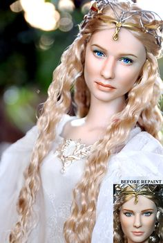 "This is a Galadriel Barbie. Is it from that magic doll painting guy?<< every time I see this pin, everyone knows who the ""magic doll painting guy"" is, but can't actually remember his name. It's Noel Cruz, if you were wondering. Pretty Dolls, Beautiful Dolls, Poppy Parker, Realistic Dolls, Doll Repaint, Little Doll, Barbie Collection, Barbie World, Tolkien"