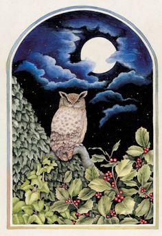 Валери Грили - VG604 Сова, падуб, Луна, традиционный Christmas.jpg