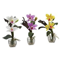 Nearly Natural Mini Cattleya Orchid Silk Flower - Set of 3 - 1321-S3