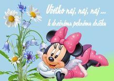 k dnešnému peknému dníčku Smiley, Birthday Wishes, Congratulations, Minnie Mouse, Disney Characters, Fictional Characters, Humor, Funny, Art