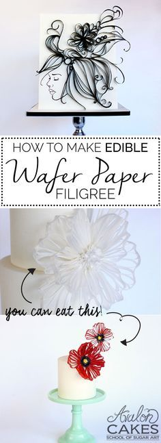 Wafer Paper Filigree Cake TUTORIAL .... so new and different! www.avaloncakesschool.com