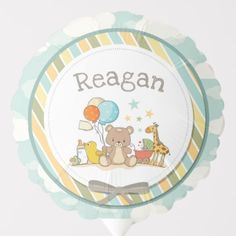Personalized Baby Teddy Bear Giraffe Rubber Ducky Balloon Baby Shower Ballons, Baby Teddy Bear, Baby Shower Table Decorations, Custom Balloons, Party Tableware, Christmas Card Holders, Personalized Baby, Biodegradable Products, Holiday Cards