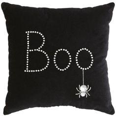 "HALLOWEEN BOO SPIDER WEB PILLOW, NEW, BLACK VELVET RHINESTONES, 12"" x 12"" PIER 1....got two of these for the living room~"