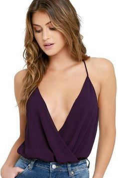 You'll top the best dressed list with a chic piece like the Well Dressed Purple Bodysuit! Semi-sheer woven poly drapes into a plunging surplice bodice with a stretchy thong bottom. Moda Formal, Casual Outfits, Cute Outfits, Pll Outfits, Body Suit Outfits, Body Suits, Moda Chic, Nyc, Vestidos