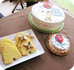 Classic WInnie the Pooh themed cake and cookies